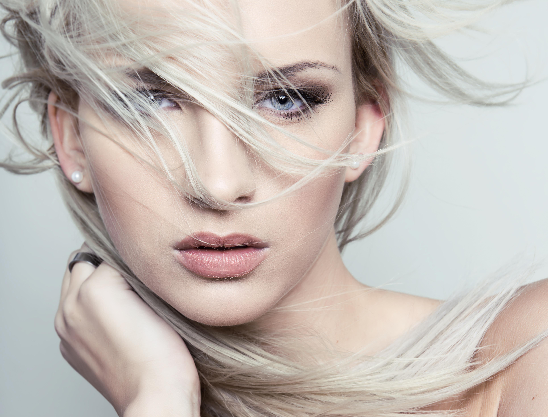 blond hair in wind
